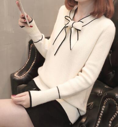 無地ニット長袖ファッション一般リボン一般秋冬リボンカラープルオーバーイエローホワイトブラックレッドアプリコットセーター・カットソー