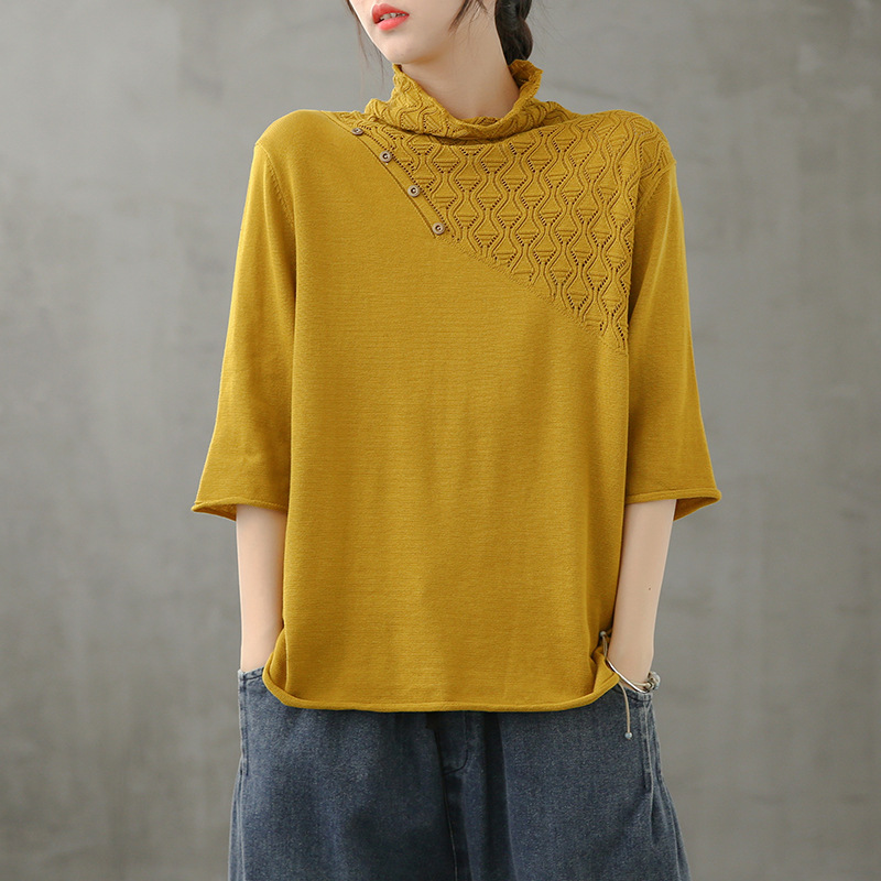 無地七分袖シンプルファッション一般透かし彫り一般春秋ハーフネックプルオーバーセーター・カットソー