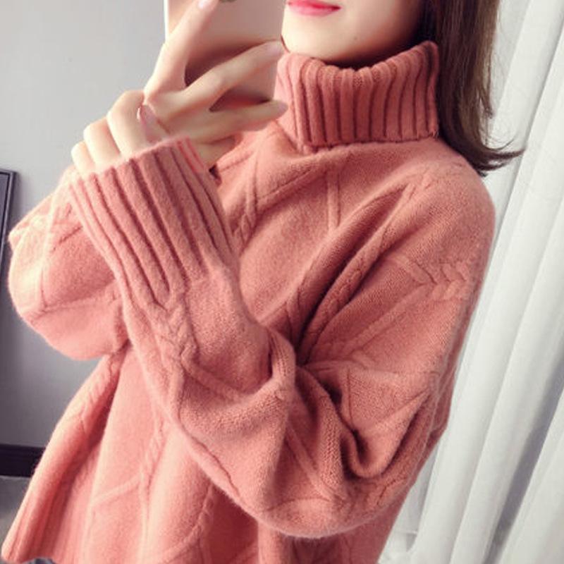 無地長袖ファッション一般スリット一般春秋ハイネックプルオーバーセーター・カットソー