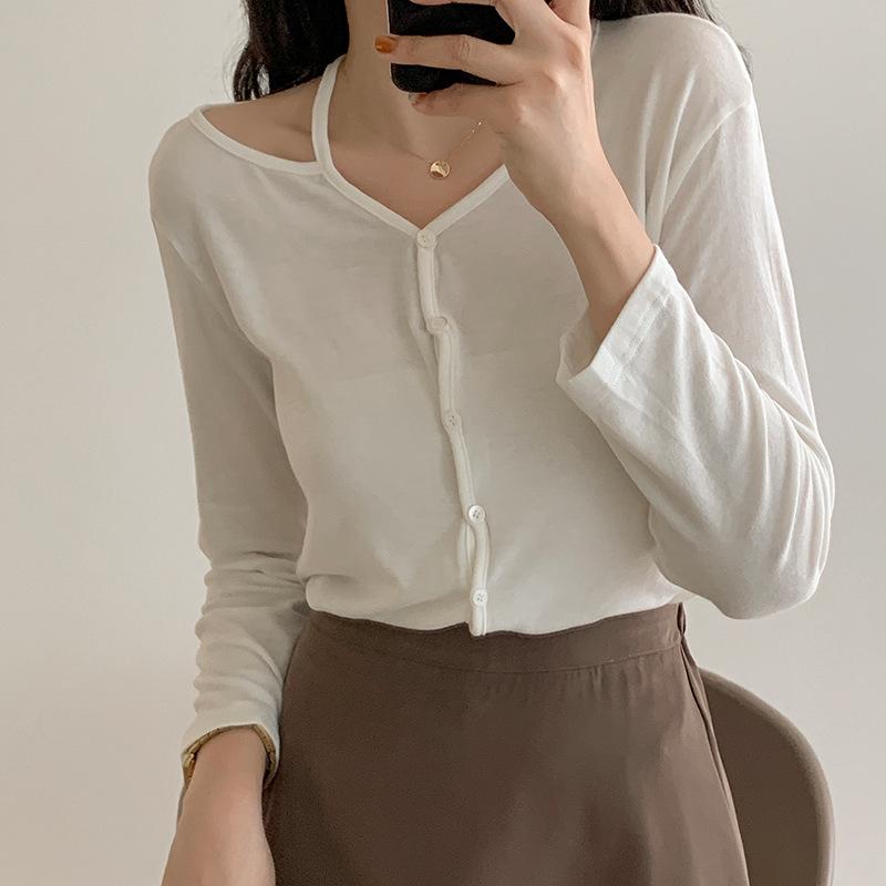 無地長袖シンプルファッションエレガント一般切り替えショート丈春秋不規則シングルブレストセーター・カットソー