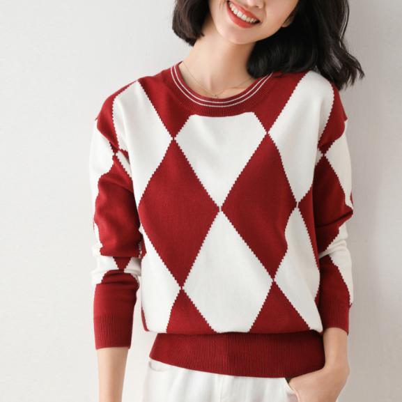 チェック柄長袖ファッション一般切り替え一般秋冬ラウンドネックプルオーバーセーター・カットソー