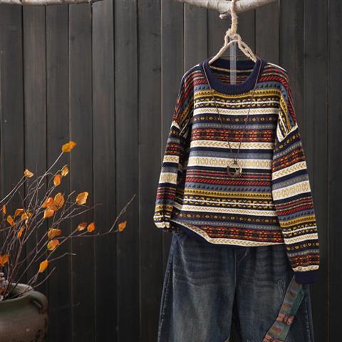 ストライプ柄長袖ファッション一般切り替え一般春秋秋冬ラウンドネックプルオーバーセーター・カットソー