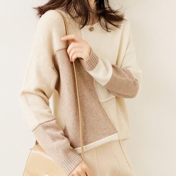 配色長袖ファッションカジュアル一般切り替えショート丈秋冬ラウンドネックプルオーバーセーター・カットソー