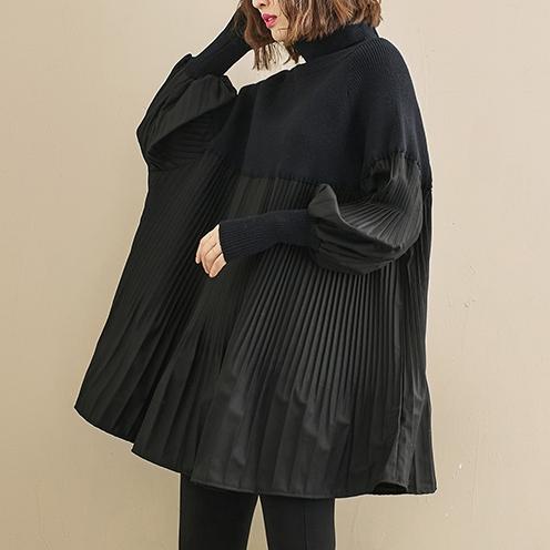 無地長袖ファッション一般切り替えギャザー飾りロング秋冬ハイネックプルオーバーセーター・カットソー