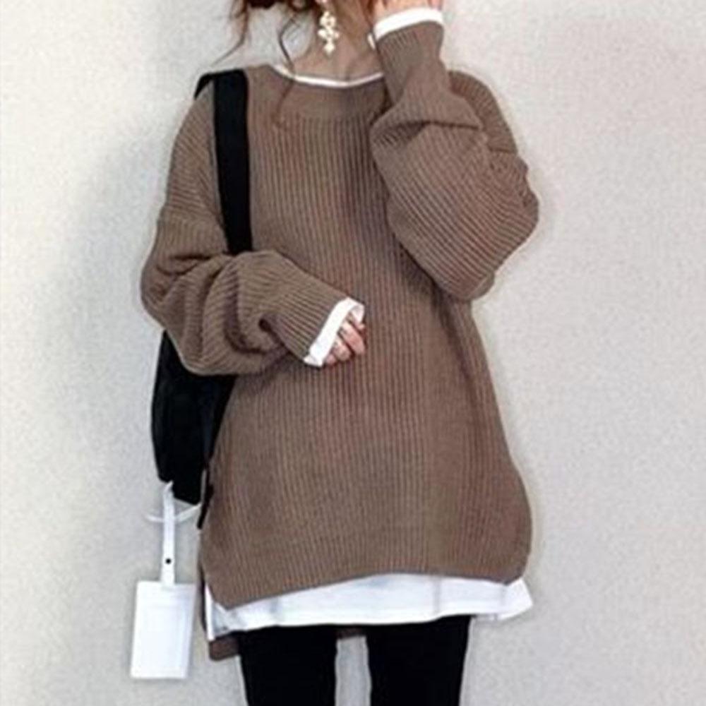 無地長袖シンプルファッション一般スリット一般春秋秋冬ラウンドネックプルオーバーセーター・カットソー