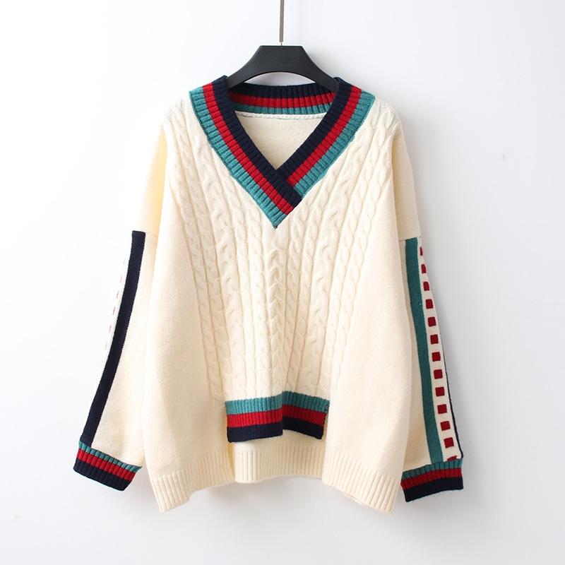配色 長袖 シンプル 秋冬 Vネック プルオーバー セーター・カットソー 体型カバー ゆったり スリット入り 後ろ長め丈 ケーブル編み 切り替え