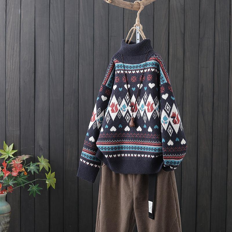 長袖ハイネックジャカードコアスパンヤーンニットセーター冬レトロスタイルルーズプルオーバーボトミングシャツ
