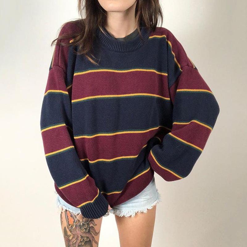 初秋カジュアルトップセーター