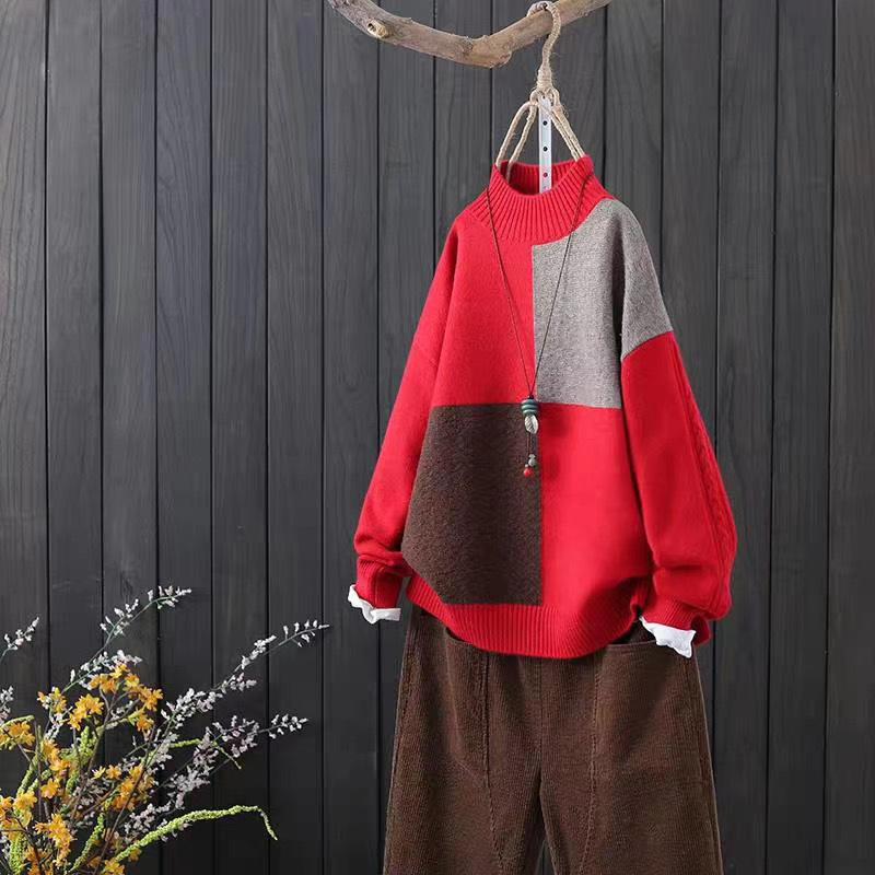 体型カバー ゆったり 丸首 ケーブル編み 配色 大人可愛い キレイめ かわいい 小柄 長袖 シンプル カジュアル レトロ 切り替え 冬 ハーフネック プルオーバー セーター・カットソー