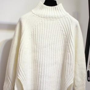 無地長袖ファッション一般切り替え一般秋冬ハイネックプルオーバーセーター・カットソー
