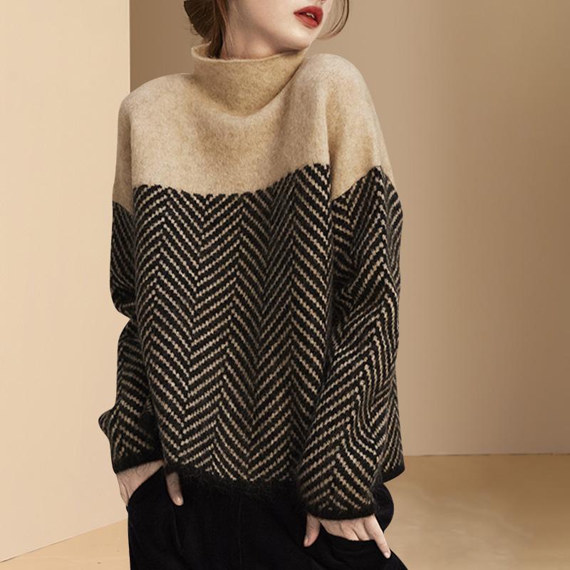 長袖シンプルファッション切り替え秋冬ハーフネックプルオーバーツイル織りセーター・カットソー