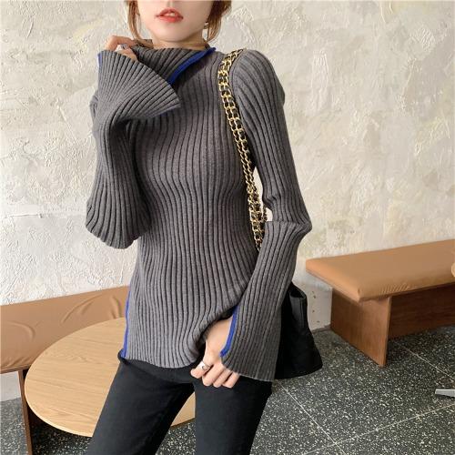 配色長袖ファッション一般スリット一般春秋秋冬ハイネックプルオーバーセーター・カットソー