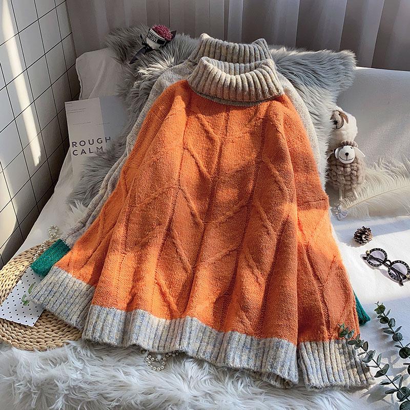 配色長袖ファッションカジュアル切り替え秋冬ハイネックプルオーバーセーター・カットソー