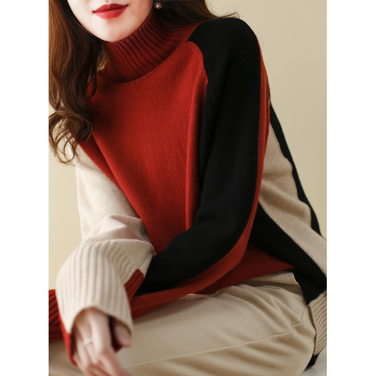 配色長袖シンプルファッションレトロ一般なし一般春秋秋冬ハイネックプルオーバーセーター・カットソー