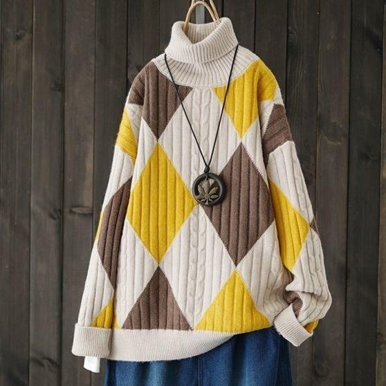 幾何模様長袖ファッション森ガール一般切り替え一般秋冬ハイネックプルオーバーセーター・カットソー