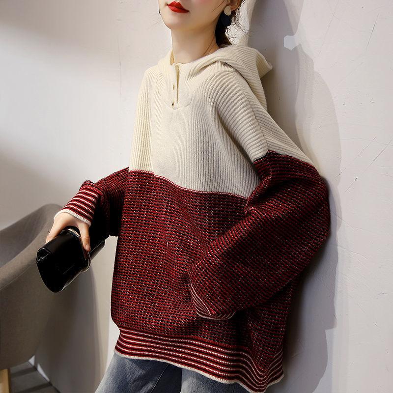 配色長袖シンプルカジュアル切り替えボタン秋冬フード付きプルオーバーセーター・カットソー