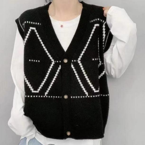 幾何模様ノースリーブシンプル韓国系ノースリーブ切り替えショート丈春秋Vネックボタンセーター・カットソー