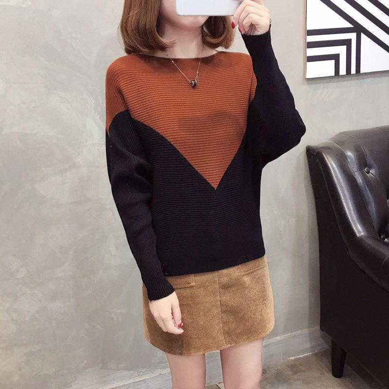 配色長袖ファッション一般切り替え一般春秋ラウンドネックプルオーバーセーター・カットソー
