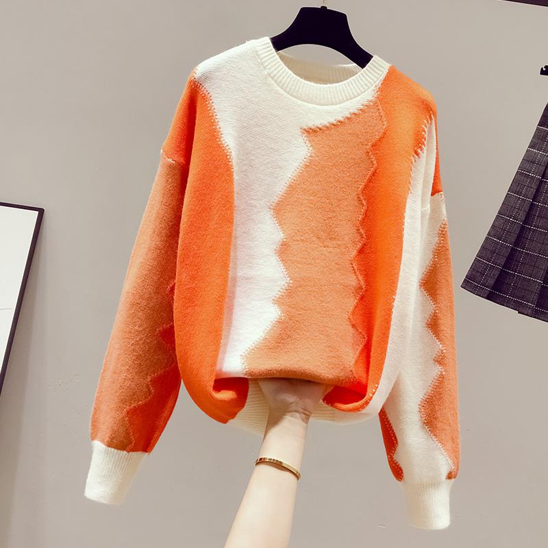 配色コットン長袖シンプル一般なし一般オールシーズンラウンドネックプルオーバー写真通りセーター・カットソー