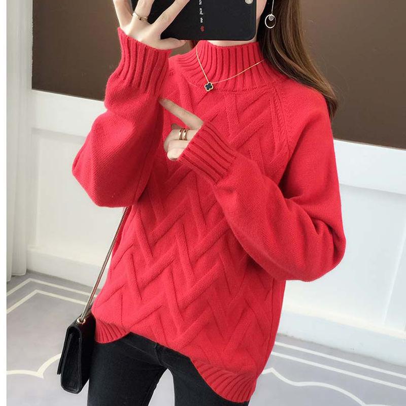 無地ニット長袖ファッション一般なし一般秋冬ハーフネックプルオーバーイエローベージュグリーンブラックレッドブルーアプリコットセーター・カットソー