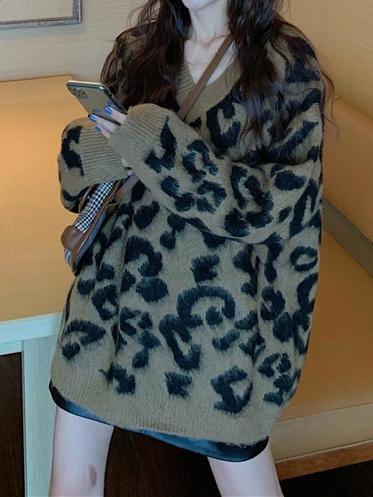 ヒョウ柄ニット長袖ファッション一般なしロング秋冬Vネックプルオーバー写真通りセーター・カットソー