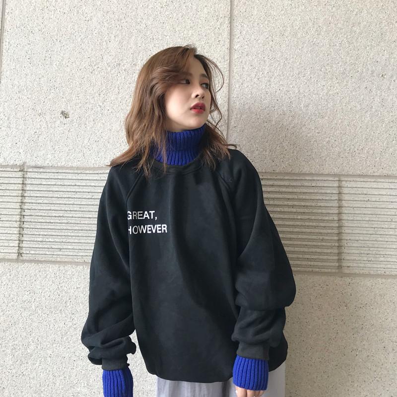 無地ニット長袖韓国系一般切り替え一般秋冬ハイネックプルオーバーカーキブラックアプリコットセーター・カットソー